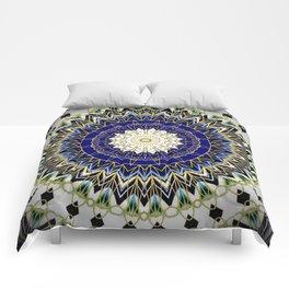 Bohemian Bright Blue and Gold Mandala Comforters
