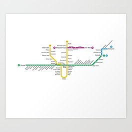 Toronto Subway Map Poster.Ttc Art Prints Society6