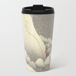 In the snow at Tsukahara on Sado Island Travel Mug