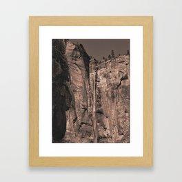 Waterfall Zion National Park Framed Art Print