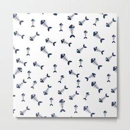 Navy blue fishbone pattern Metal Print