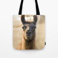llama Tote Bags featuring LLAMA by Julie Zhang