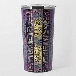 Egyptian hieroglyphs on purple violet painted texture Travel Mug
