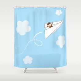 Paper Aeroplane Pilot Shower Curtain
