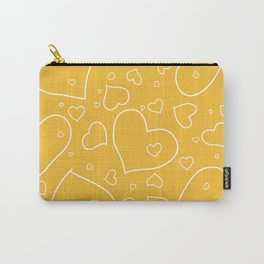 Mustard Yellow and White Hand Drawn Hearts Pattern Carry-All Pouch