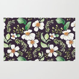 Modern purple green white watercolor daisies floral Rug
