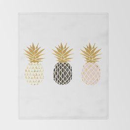fun pineapple design gold Throw Blanket