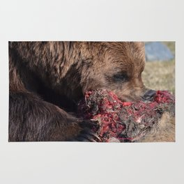 Hungry Alaskan Grizzly Bear - Eating Raw Meat Rug