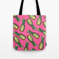 samsung Tote Bags featuring Pineapple Pattern by Georgiana Paraschiv