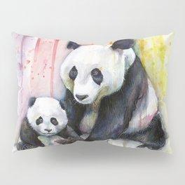 Rainbow Pandas Watercolor Mom and Baby Panda Nursery Art Pillow Sham