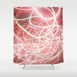 Neon Pink Light Streaks Shower Curtain