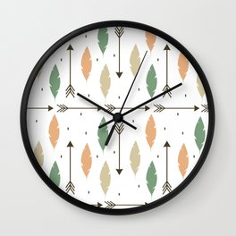 cute colorful feathers and arrows ethnic tribal pattern background Wall Clock