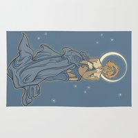 mucha Area & Throw Rugs featuring Mucha Pin Up Girl by Karen Hallion Illustrations