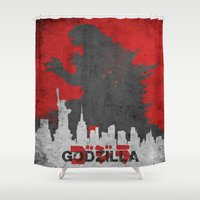 godzilla Shower Curtains featuring Godzilla poster by WatercolorGirlArt