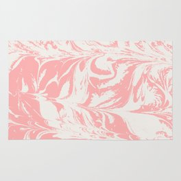 Kuri - spilled ink abstract marble swirl pink and white minimal modern abstract painting ocean sea Rug