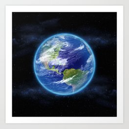 Planet Earth in Space Art Print