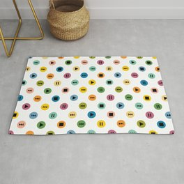Music Player Icons Polka Dots (Multicolor on White) Rug
