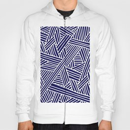 Abstract navy blue & white Lines and Triangles Pattern- Mix and Match with Simplicity of Life Hoody