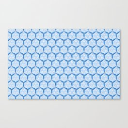 Classic Blue Windmill Blade and Circles Organic Pattern Canvas Print