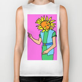 sunflower paintings, sunflower art, sunflower illustrations, Biker Tank