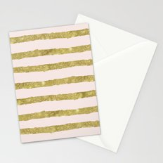 Gold Peach Chic Stripes Stationery Cards