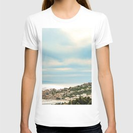 European Sunset | Colorful Costal Clouds Skyline Charming Ocean Town Baby Blue Yellow Tones T-shirt