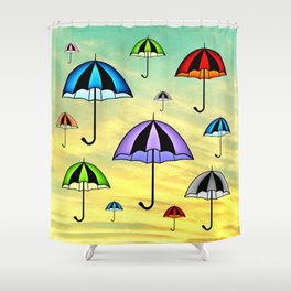 Colorful umbrellas flying in the sky Shower Curtain