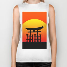 Sunset and Torii in Japan Biker Tank