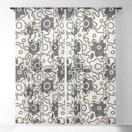 Wonky Cutout Flowers Black & White Sheer Curtain