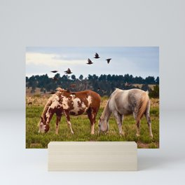Wild Mustangs Grazing 2 Mini Art Print
