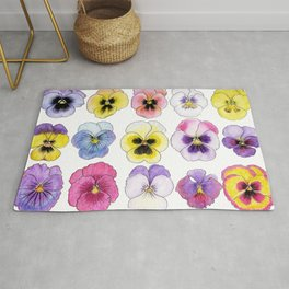 violet flowers on white background Rug