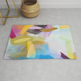 splash painting texture abstract background in yellow blue pink Rug