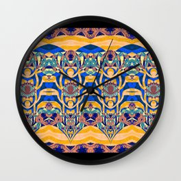 Elegant Modern Tribal Art Print in Orange and Blue Wall Clock