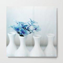 Blue Hydrangeas - Square Metal Print