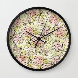 Mixed Media Roses Wall Clock