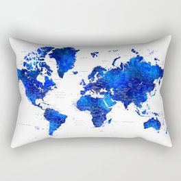 "Navy blue and cobalt blue watercolor world map with cities labelled, ""Carlynn"" Rectangular Pillow"