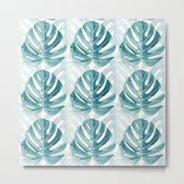 Monstera leaves Jungle leaves Turquoise Tropical Leaves Metal Print
