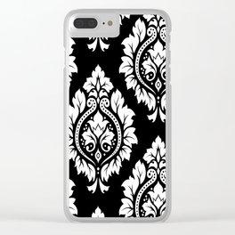Decorative Damask Art I White on Black Clear iPhone Case