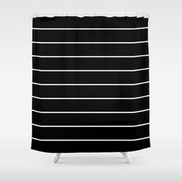SKINNY STRIPE ((white on black)) Shower Curtain