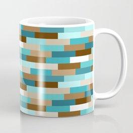 Staggered Geometric Rectangles // Caribbean Blue, Ocean Blue, Dark Brown, Coffee Brown, Khaki Coffee Mug