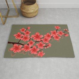 red oriental sakura flower Rug