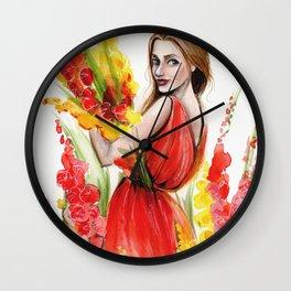 Hollyhock Fields Wall Clock