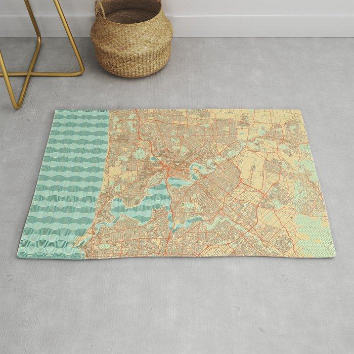 Perth Map Retro Rug By Hubertroguski Society6