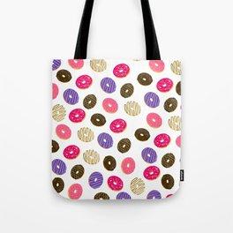 Modern cute pastel hand drawn donuts pattern food illustration Tote Bag