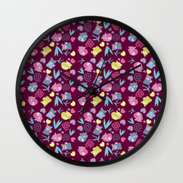 Cute Red Pandas Pattern Wall Clock
