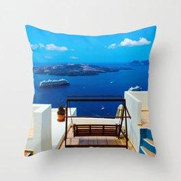 Volcano View,Santorini Throw Pillow