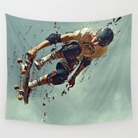 skate Wall Tapestries featuring skate board 6 by Sébastien BOUVIER