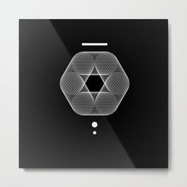 Mesh Geometry III Black Metal Print
