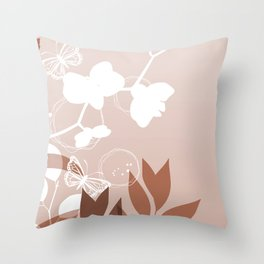 Botanicals and Butterfly Graphic Design Sherwin Williams Cavern Clay SW7701 Throw Pillow