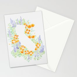 California Poppies and Lupins State Sihlouette Stationery Cards